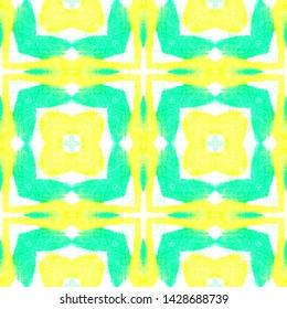 Seamless Square Pattern. Tie Dye Quadrangle Textile Design. Abstract Ethnic Ornament. Tribal Handmade Wallpaper. Watercolor Square Pattern.