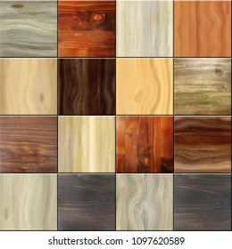 seamless square wooden tiles texture, 3D illustration