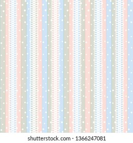 Seamless striped backgrounds with lace and white peas. Delicate vertical striped backgrounds. White peas print vertically on blue and pink stripes. Repeat pattern, rapport pattern for fabrics, textile