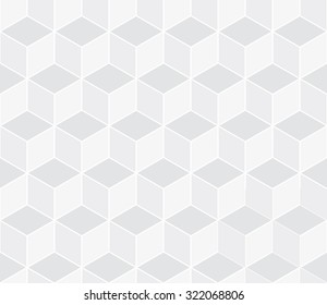 Seamless subtle gray isometric cube illusion with outline pattern