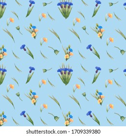 Seamless summer flower pattern, cute pattern with wild flowers, poppy, cornflower, leaves.