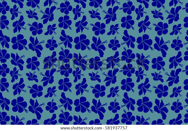 Seamless. Summer hawaiian seamless pattern with tropical plants and blue hibiscus flowers.
