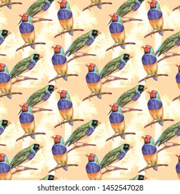 Seamless summer pattern. Exotic Australian birds and palm trees. Hand drawn gouldian finches on branch on warm background