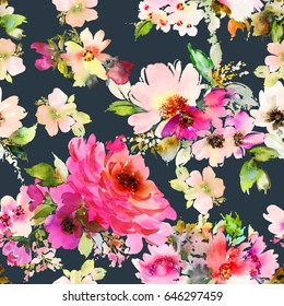Seamless summer pattern for fabric. Watercolor flowers.