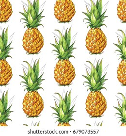 Seamless summer pattern with pineapple