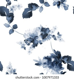 Seamless summer pattern with watercolor flowers handmade. White background