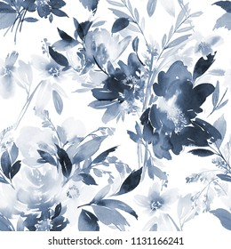 Seamless summer pattern with watercolor flowers handmade in indigo color