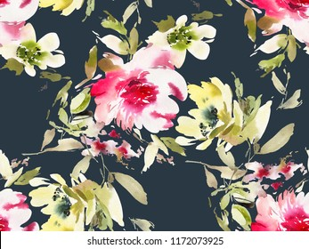 Seamless summer pattern with watercolor flowers handmade on a black background