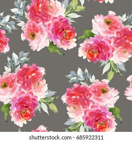Seamless summer pattern with watercolor flowers handmade. Gray background