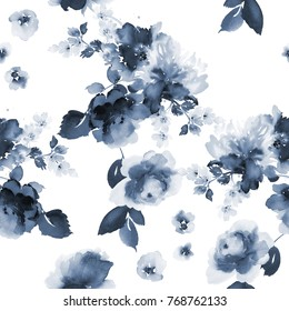 Seamless summer pattern with watercolor flowers handmade. Indigo din. White background.