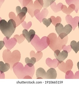 Seamless surface pattern of transparent hearts in brown, cream, burgundy, and black