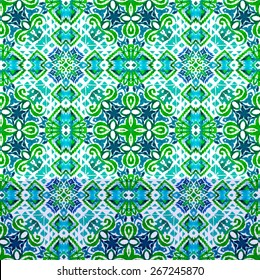 seamless symmetry tribal pattern with ikat motives. very detailed kaleidoscope mosaic design with mixed elements and textures. latino ceramics style, arabesca