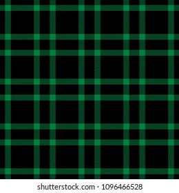 Seamless tartan black and green striped checkered checked pattern