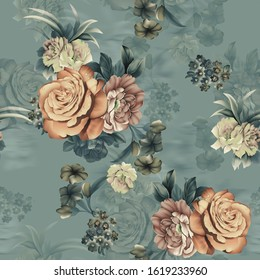 Seamless textile flower design with metallic dusty ground
