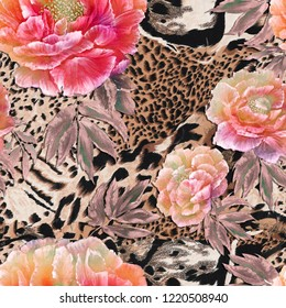 Seamless textile pattern. Wild african animal skin with beautiful red and pink peonies . Tiger and jaguar skin with flowers pattern.