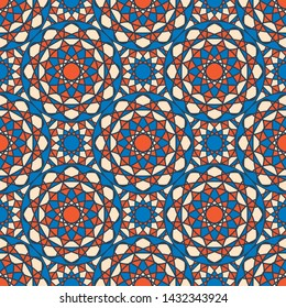 Seamless texture with arabic geometric ornament. Colorful mosaic pattern