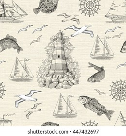 Seamless texture background with engraved lighthouse, fish, gulls and boats. Sea doodle illustration with vintage transportation emblems, hand drawn repeated drawing with marine elements