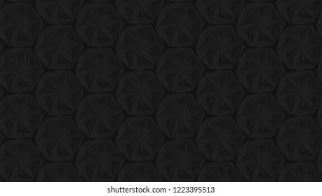 Seamless texture based on a hexagonal grid with an abstract of the swivel and extruded elements 3d illustration