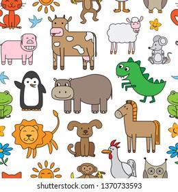 Seamless texture with cartoon animals. Pattern for children