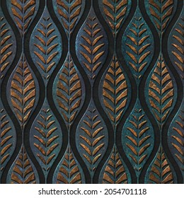 Seamless texture with carving leaves pattern, bronze and copper color, panel, 3D illustration
