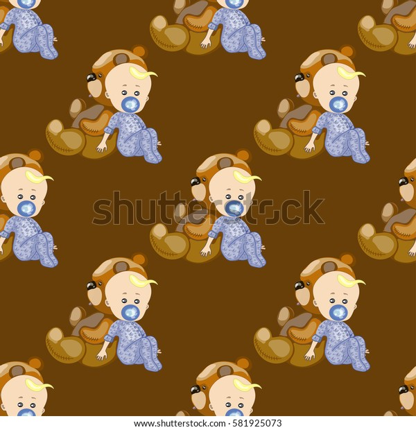 seamless texture , a child with pacifier and teddy bear , on a brown background