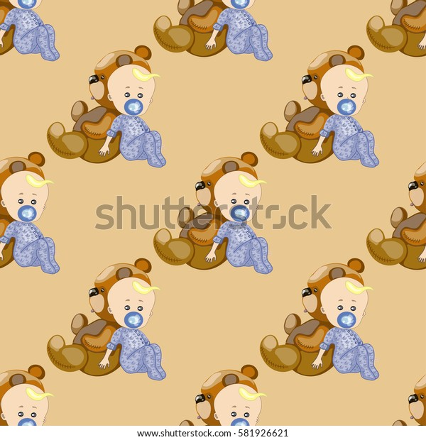 seamless texture , a child with pacifier and teddy bear , on a  light  brown background