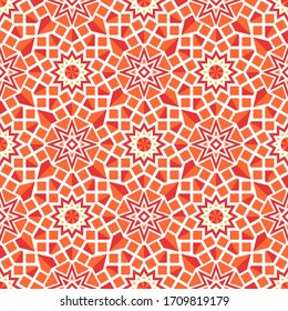 Seamless texture with colorful arabic geometric ornament. Asian mosaic pattern with alternating decorative elements