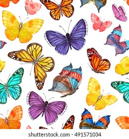seamless texture with colorful flying butterflies. watercolor painting