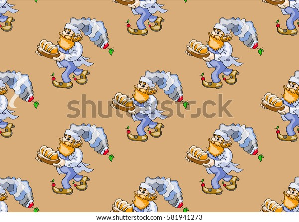 seamless texture , cook bears a tray of bread  , on light brown  background