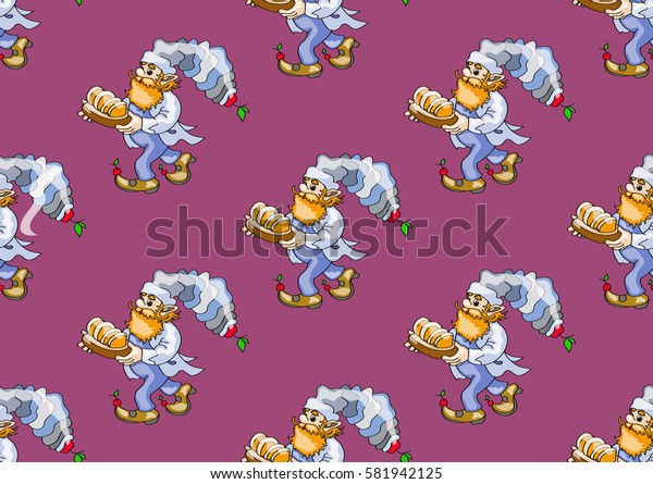seamless texture , cook   bears a tray of bread  , on burgundy   background