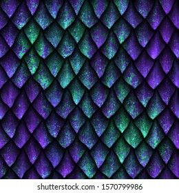 Seamless texture of dragon scales with green and violet grunge pattern, reptile skin, 3d illustration