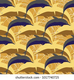 Seamless texture with a flock of dolphins under water, illustration for background