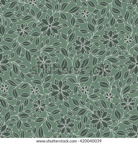 Seamless Texture With Flowers Endless Floral Green Pattern Can Be Used For
