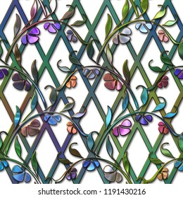 Seamless texture with flowers pattern,  stained glass effect, 3d illustration