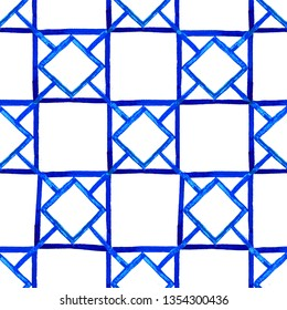 Seamless texture of hand drawn blue  geometric tiles in oriental style on white background
