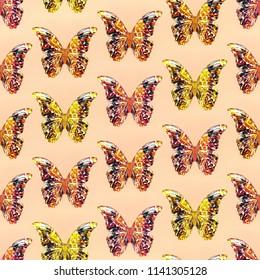 Seamless texture of modern colored butterflies.3d illustration