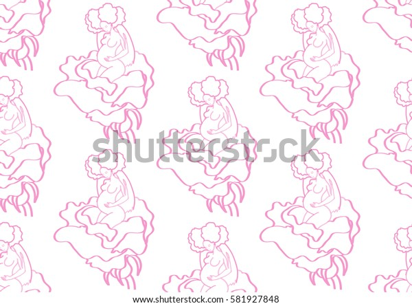 seamless texture, motherhood, pregnant woman in a flower, pink on white background