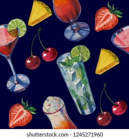 seamless texture pattern background isolated. Hand drawn watercolor drinks party and sweets