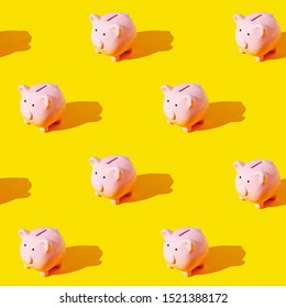 Seamless texture pattern. Piggy bank on a yellow background. Set. Long harsh shadow from the summer sunshine.