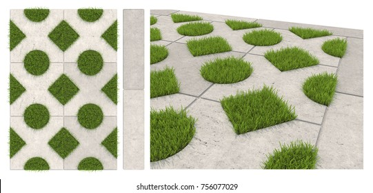 Seamless texture of sidewalk tile with holes for grass. Isolated landscape tiles on a white background. 3D visualization of paving slabs.