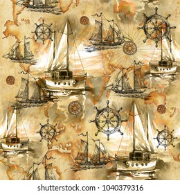 Seamless texture with vintage sailboats painted by hand. Pirates and adventures, ancient caravels and treasures.  Sailing ship and summer.