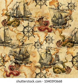 Seamless texture with vintage sailboats and sea dragons, sea monsters drawn by hand. Pirates and adventures, ancient caravels and treasures.  Sailing ship and summer.