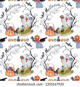 Seamless texture watercolor halloween horror pattern 4.2