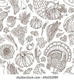 Seamless Thanksgiving pattern. Corn, cornucopia, grape, pilgrim hat, pumpkin, turkey, wheat, jam cranberry autumn leaf nut mushroom sunflower apple Boundless sketch harvest background