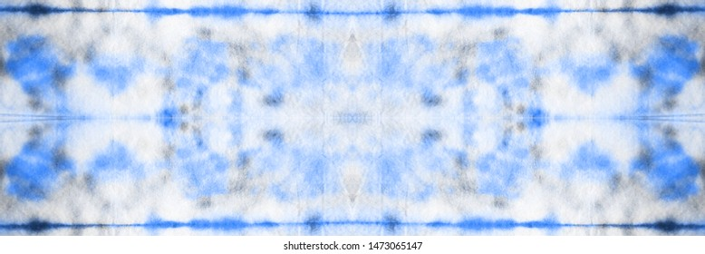Seamless Tie Dye Panoram Picture. Colorful Vintage Dyed ikat. Rainbow Dyed Design. Navy blue and White color with Black. Ink Dashiki Rug Grunge Style.