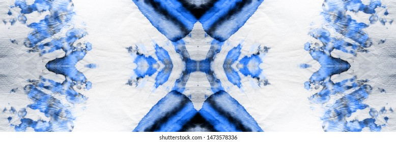 Seamless Tie Dye PanoramWallpaper. Gouache Dashiki Scarf Design. Indigo and White Stains with Gray. Boho Dyed Effect. Colorful Colorful Dyed ikat.