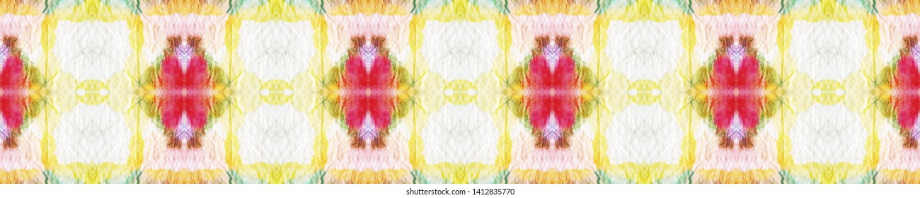 Seamless Tie Dye Pattern. Red and Green Textile Print. Traditional Backdrop.  Colorful Natural Ethnic Illustration. Seamless Tie Dye Design.