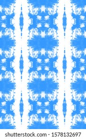 Seamless Tie Dye Pattern. Watercolor Endless Print. Craft Ethnic Adornment. Ikat Dyeing Natural Ornament. Boundless Abstract Painting. Azure,White Soft Seamless Tie Dye Pattern.