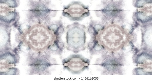 Seamless Tie Dye Picture. Vintage Dyed Textile Decoration. Gouache Indian Carpet. Grunge Ornament. Charcoal Blots. White Stains. Ethnic Dyed Luminous Dashiki.