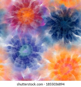 Seamless Tie Dye Spiral Fashion Print Pattern Swatch. High quality illustration. Digitally rendered artistic dye bleed effect for printing on any surface. Psychedelic hippie repeat background design